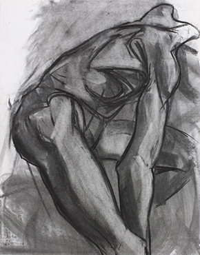 Anatomy line, charcoal on paper, © 2016 Graham White