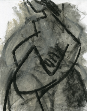 Angular figure, charcoal & chalk on paper, © 2016 Graham White