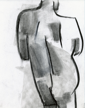 Back cropped - line and value, charcoal & chalk on paper, © 2016 Graham White