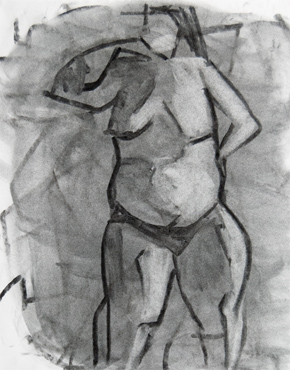 Betty, charcoal and chalk on paper, life drawing © 2016 Graham White