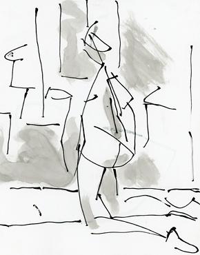 Kneeling, ink on paper, life drawing © 2016 Graham White