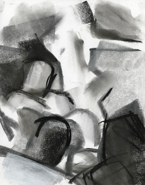 Life studio, charcoal & chalk on paper, life drawing © 2016 Graham White
