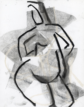 Samba, charcoal and chalk on paper, life drawing © 2016 Graham White