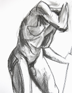 Staff, charcoal on paper, life drawing © 2016 Graham White