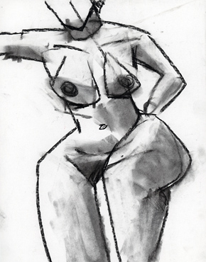 Strong, charcoal on paper, life drawing © 2016 Graham White