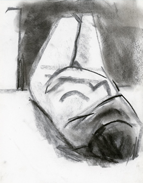 Three-quarter view reclining, charcoal on paper, life drawing © 2016 Graham White