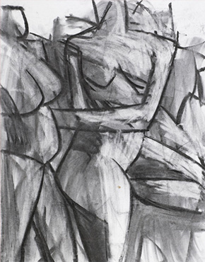 Frieze, charcoal on paper, © 2018 Graham White