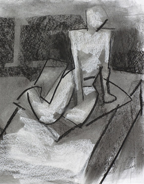 Platform, charcoal and chalk on paper, © 2018 Graham White