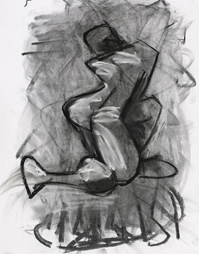 S-Curve, charcoal and chalk on paper, © 2018 Graham White