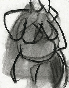 Turning, charcoal on paper, life drawing © 2018 Graham White