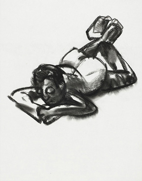 Prone, charcoal on paper, © 2018 Graham White