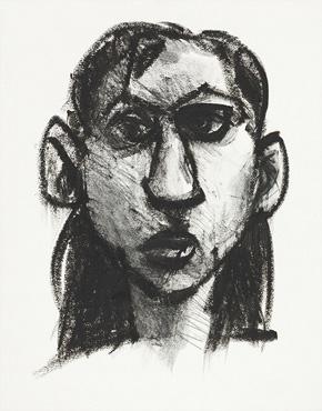 Rebecca, oilstick on paper, © 2018 Graham White