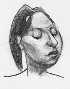 Valerie, charcoal on paper, © 2018 Graham White