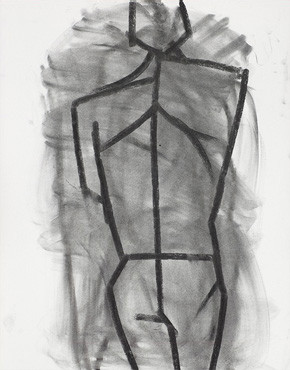 Kouros, charcoal on paper, © 2018 Graham White