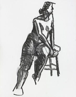 Monica seated, charcoal on paper, © 2018 Graham White