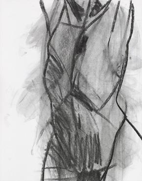 Torso, charcoal on paper, © 2018 Graham White