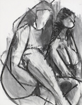 Two women, charcoal on paper, © 2018 Graham White